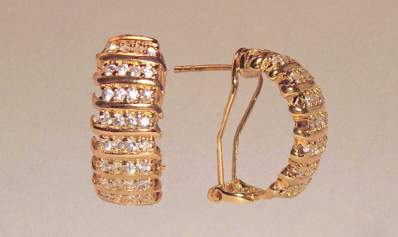 Clear CZ 4 row gold earrings