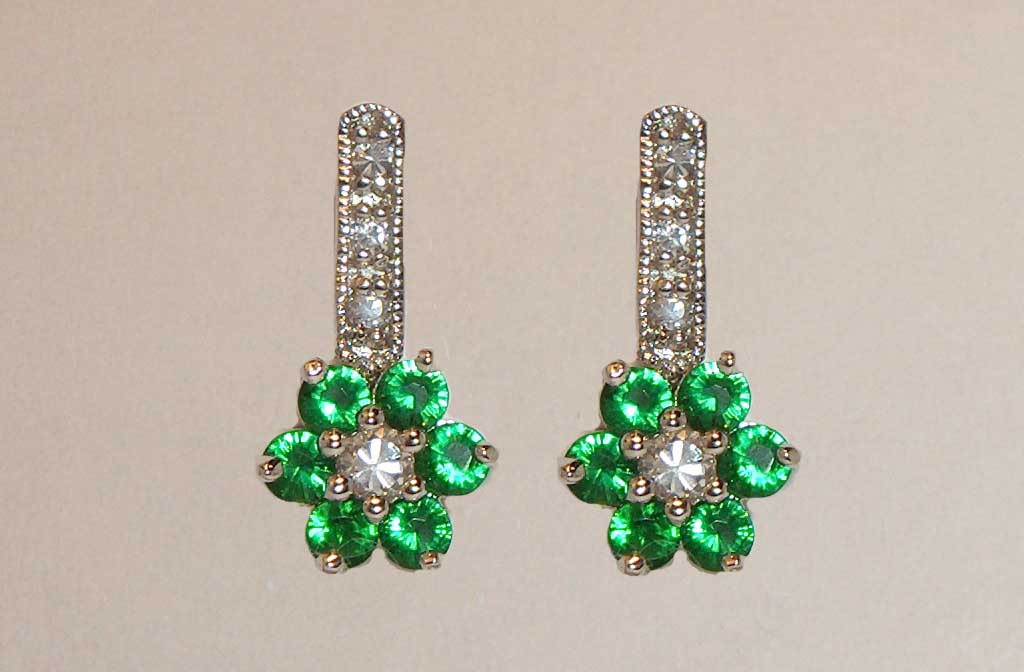 Emerald CZ flower drop silver earrings