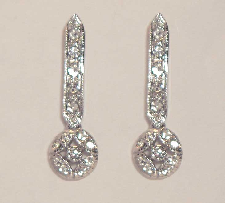 Estate look white CZ long drop earrings