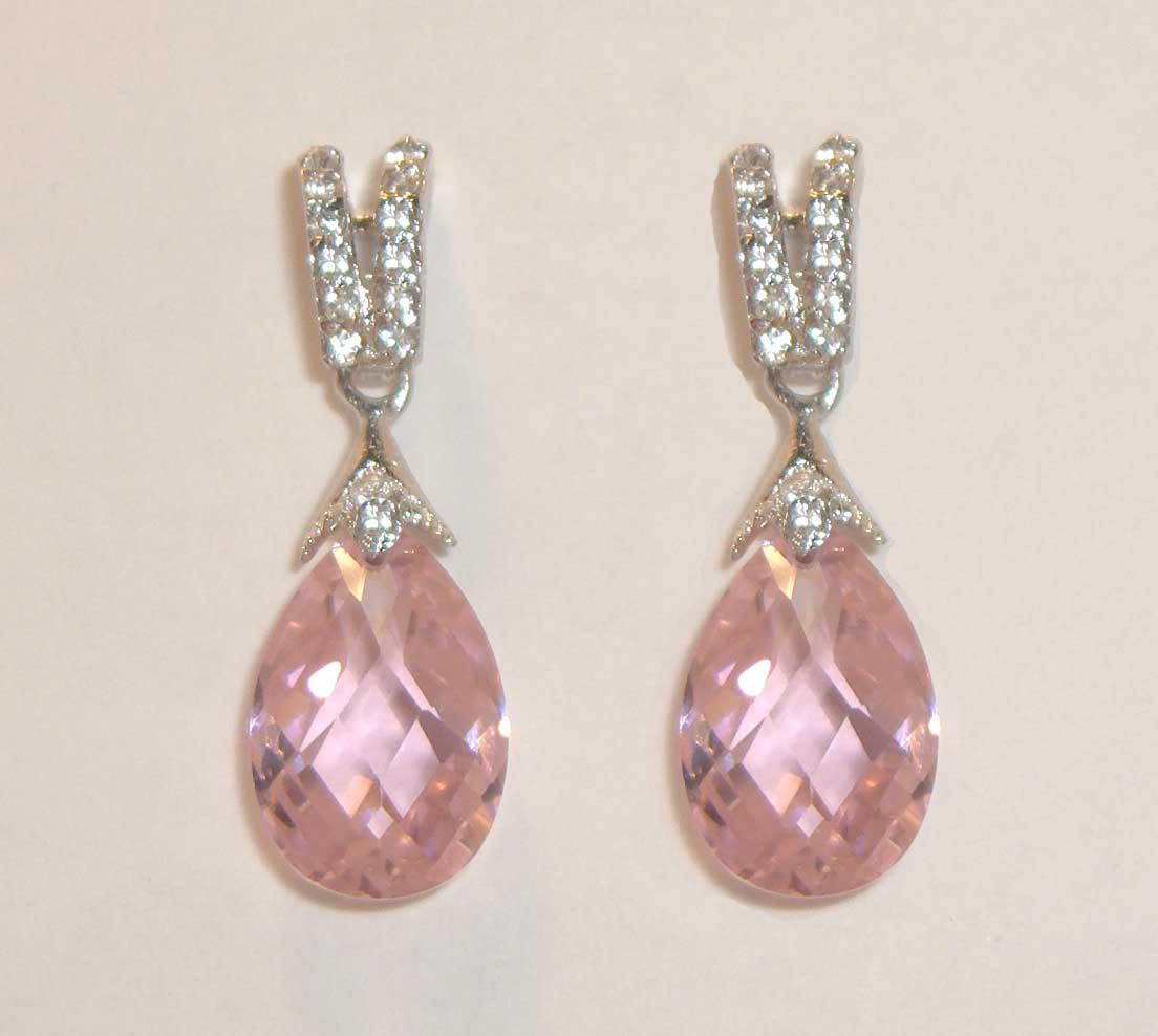 Pink Faceted Crystal Drop Earrings