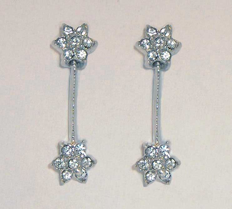 Crystal drop flower earrings