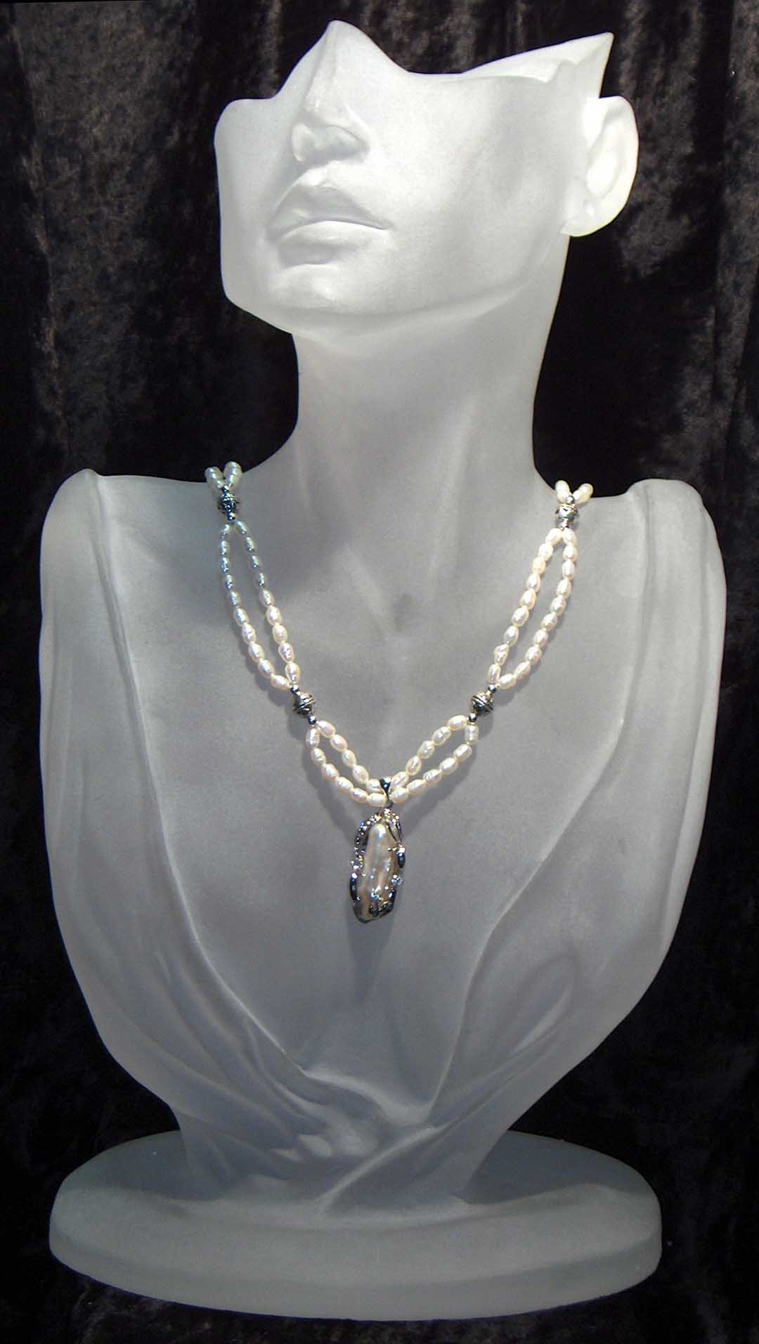 Fresh water pearl necklace with hanging silver pearl CZ pendant